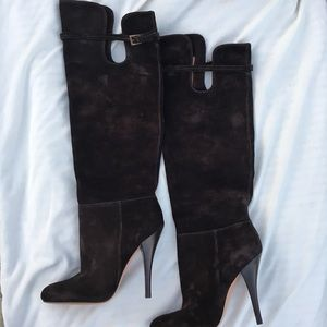 🔥 Chocolate Brown Stiletto Knee-High Suede Boot❤️